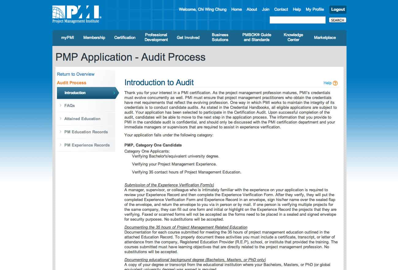 Pmp audit first hand experience of oversea applicant new pmp the audit process xflitez Choice Image