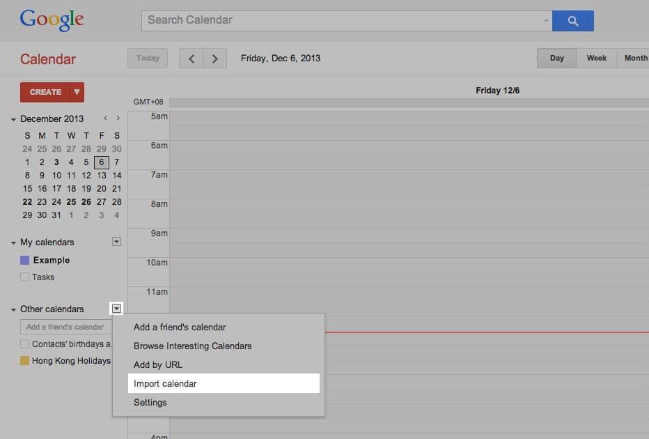 import calendar step 1