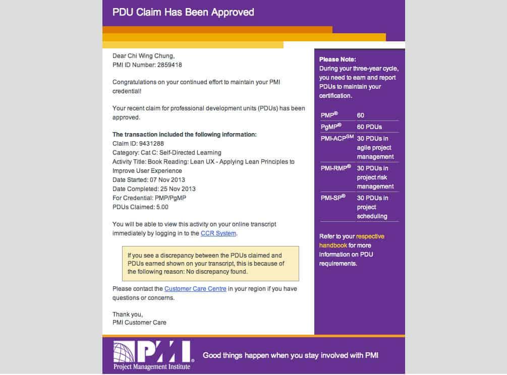 pdu claim approved