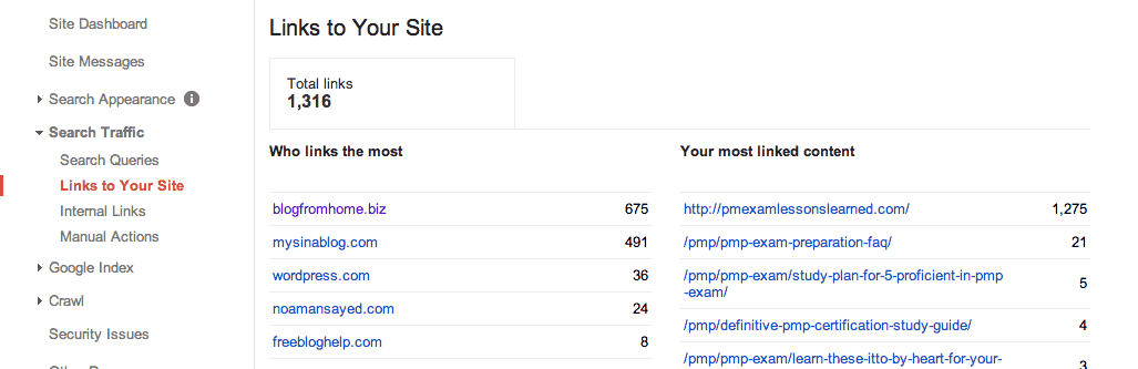 links to site in Google Webmaster Tools
