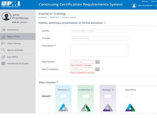 PDU reporting screen with PMI Talent Triangle