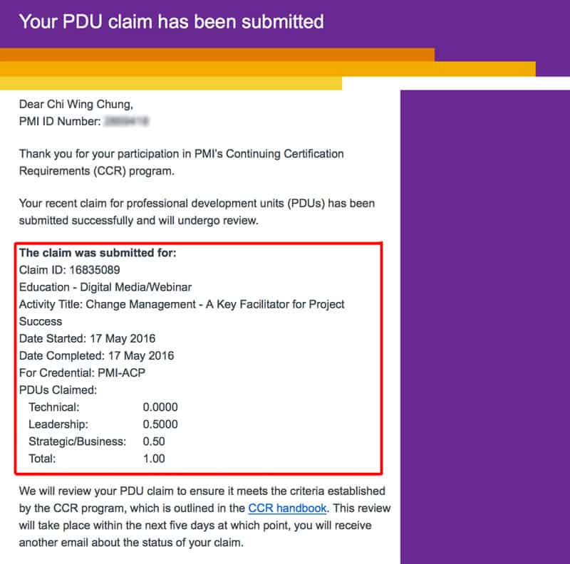 PDU claim acknowledge email from PMI