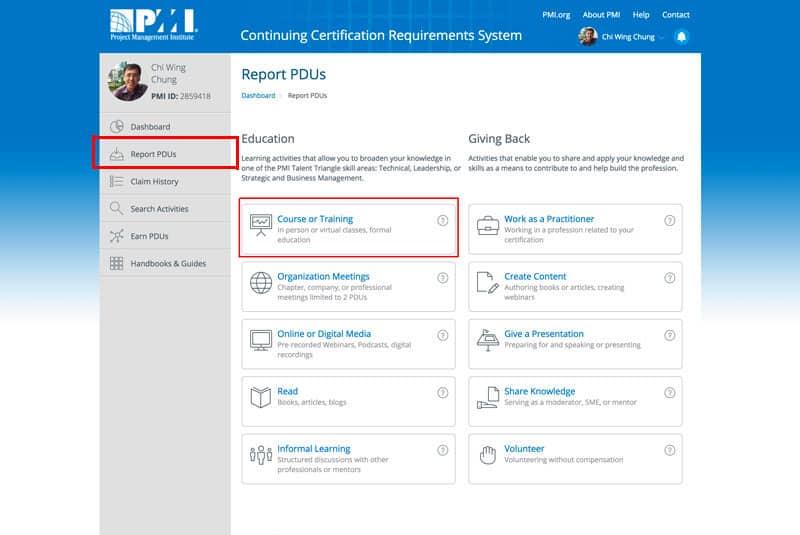 Report Professional Development Units (PDUs)