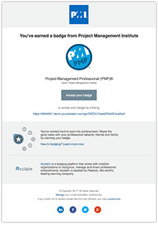 Email Invitation to accept PMI Digital Badge Program from Acclaim